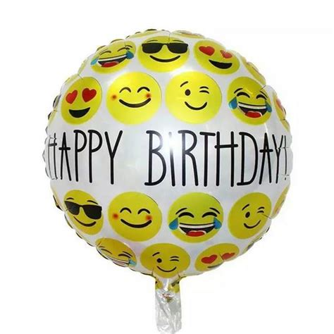 Balon Foil Emoji Birthday 3pcs 18inch happy birthday expression balloon emoji foil