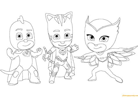 catboy gecko and owlette from pj masks coloring page