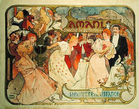 Wall Mural Printing poster advertising amants a comedy alphonse mucha as