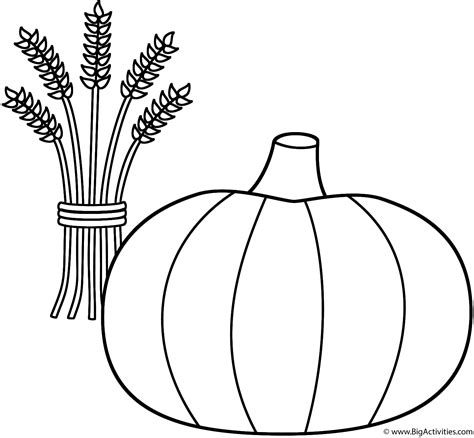 thanksgiving pumpkins coloring pages pumpkin with wheat sheaf coloring page thanksgiving