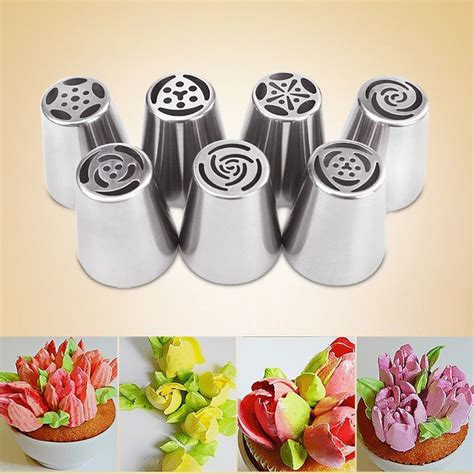 ezlife 7pcs russian piping tips cake pastry nozzles cake