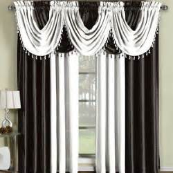 Black And White Window Valance Soho Black And White Faux Silk Window Treatment Panels Or