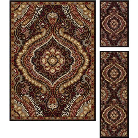 3 pc rug set tayse rugs elegance black 5 ft x 7 ft 3 rug set 5463 black 3 pc set the home depot