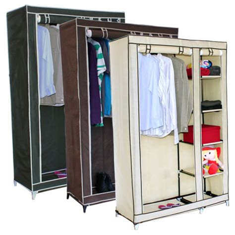 Canvas Wardrobes by Canvas Wardrobe W Hanging Rail Storage Shelves Ebay