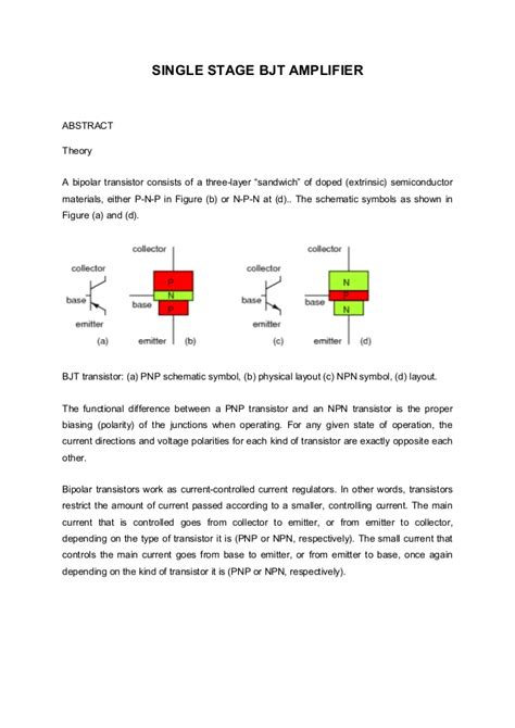bipolar transistor lab report single stage bjt lifier experiment 6