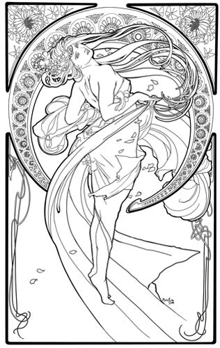 free coloring pages of nouveau mucha