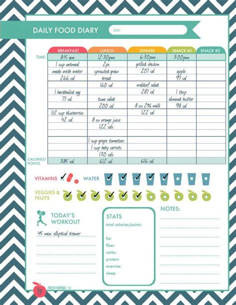 printable food and exercise planner fitness planner weight loss food diary menu planner