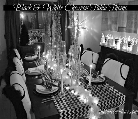 table decor idea chevron black white christmas theme