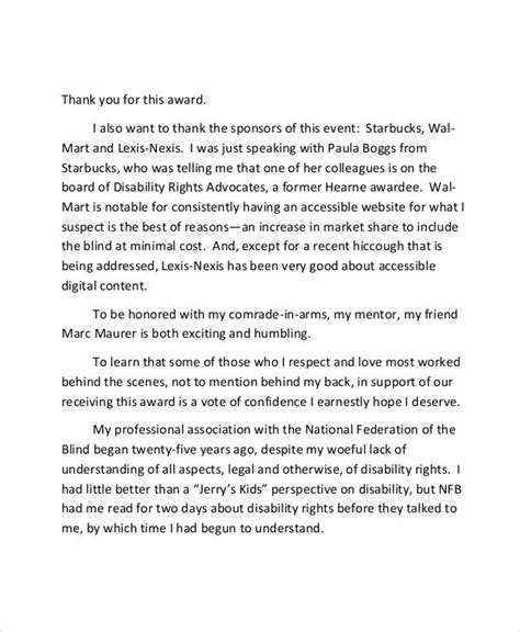 thank you letter for award ceremony 7 thank you speech exles sles pdf doc