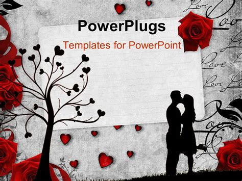 powerpoint template romantic vintage background with red