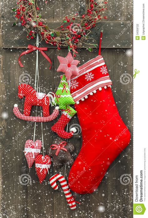 christmas decoration santas sock  handmade toys stock photography image