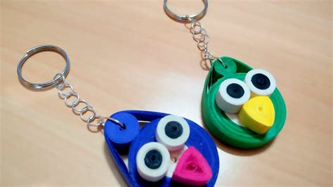 How To Make Paper Key - diy how to make paper quilling key chain angry birds