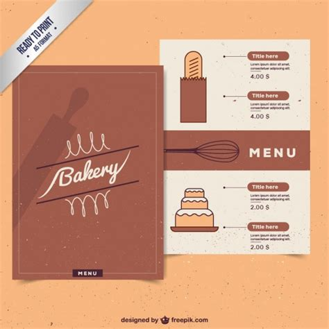 bakery menu template vintage bakery menu template vector free