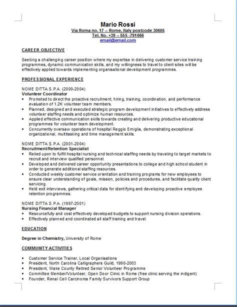 Formato Europeo Curriculum Vitae Inglese Curriculum Vitae Curriculum Vitae In Inglese