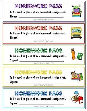 free homework pass template printable homework pass no homework coupons homework