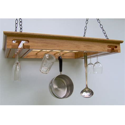 pot racks rectangular hanging oak wine glass pot