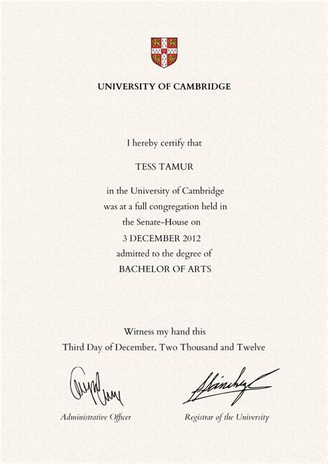 Mba Without Undergraduate Degree Uk by What Does A Of Cambridge Degree Certificate