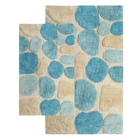 2 piece bathroom rug set 2 piece pebbles bath rug set in aquamarine uvcm26653