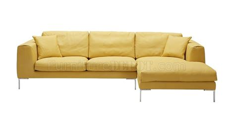 Yellow Leather Sofas Soleil Sectional Sofa In Yellow Premium Leather By J M