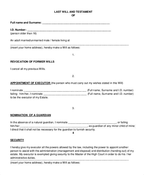 last will and testament template pdf last will and testament template pdf www pixshark