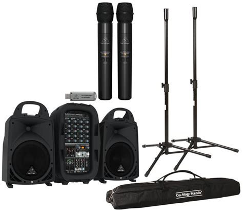 Behringer Wireless Microphones Systems Ultralink Ulm202usb Set behringer europort ppa500bt compact pa system with wireless mics sweetwater