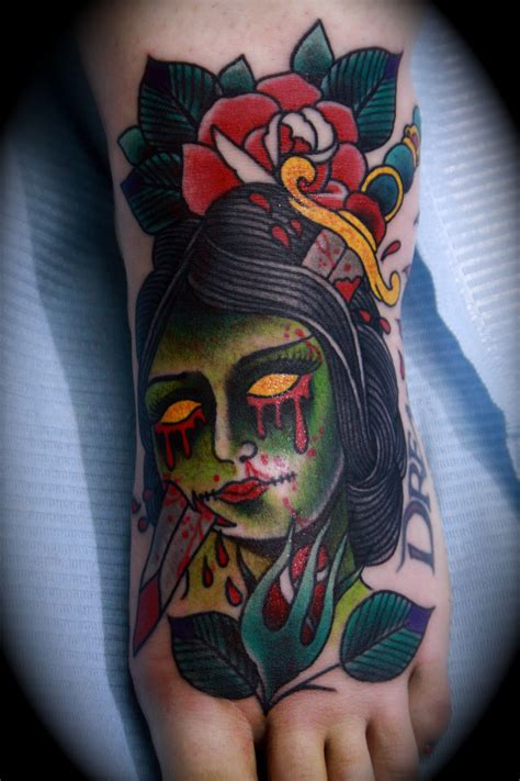 zombie girl tattoo traditional www pixshark images