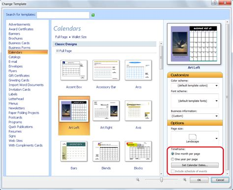 publishing templates personalize a calendar for new year in publisher office