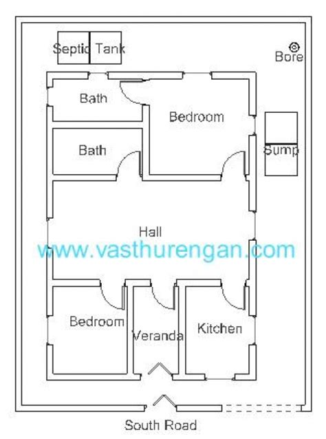house plan for south facing plot with two bedrooms vastu plan for south facing plot 3 vasthurengan com