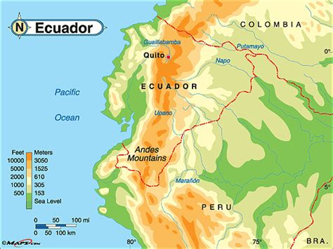 ecuador physical map ecuador physical map by maps from maps world s