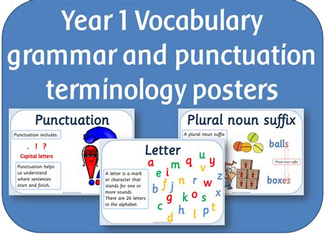 grammar and punctuation year year 1 vocabulary grammar and punctuation terminology posters by highwaystar teaching