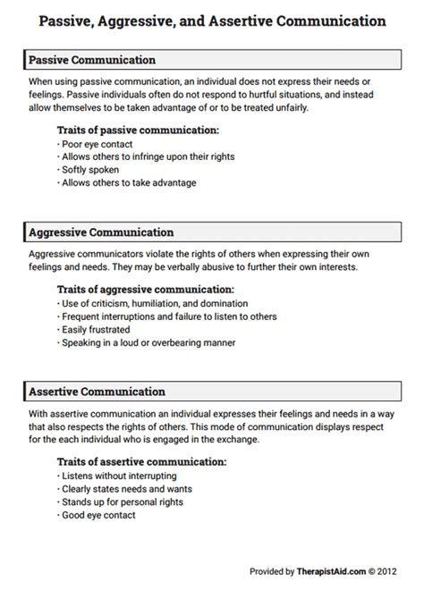 Communication Styles Worksheet by Passive Aggressive And Assertive Communication