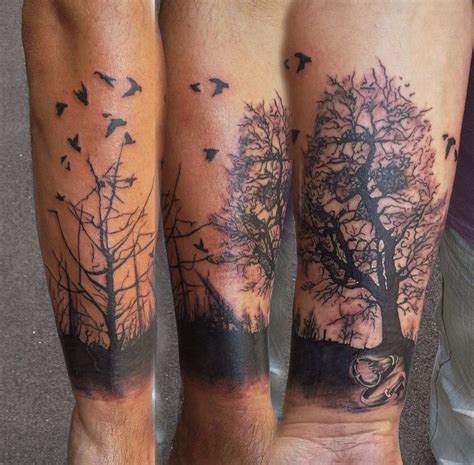 forrest tattoo my new dead forrest trees silhouette crows