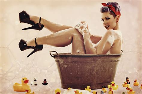 pin up girl in bathtub bath time 2 by lil linny on deviantart
