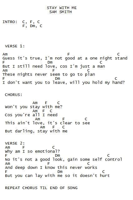 sam smith leave your lover chords stay w me sam smith ukulele song sheets pinterest