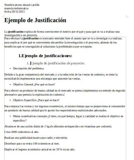 ejemplos de justificacion evidencias de informatica ejemplo de justificacion