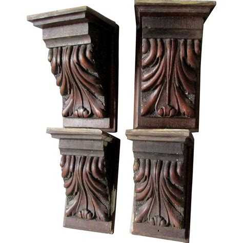 Carved Corbels 4 Antique Carved Architectural Acanthus Leaf Corbels