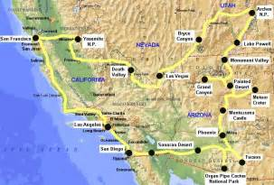 west america map travel to usa west coast in california arizona utah and