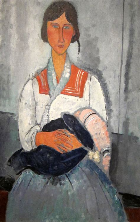 modigliani woman with a gypsy woman with a baby 1919 by amedeo modigliani