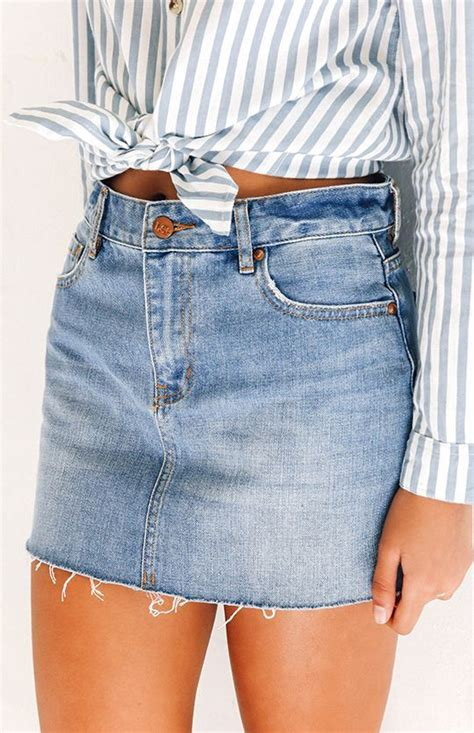 18465 White Flower Denim Skirt 20 denim skirts summer casual denim skirt