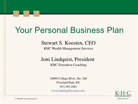personal business plan template your personal business plan