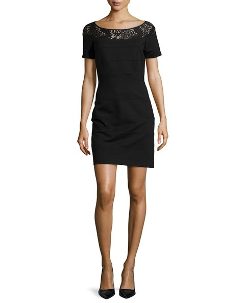 27344 Knit Lace Sleeve Dress laundry by shelli segal sleeve knit dress with lace