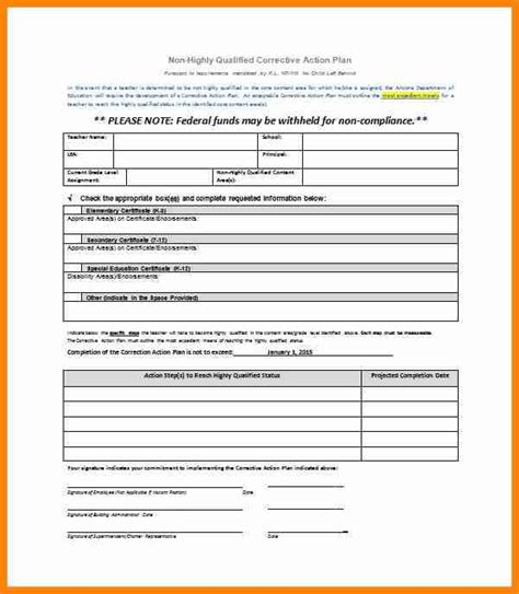 5 employee corrective action plan template mail clerked