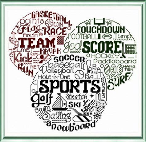 cross stitch pattern maker words let s love sports cross stitch pattern words