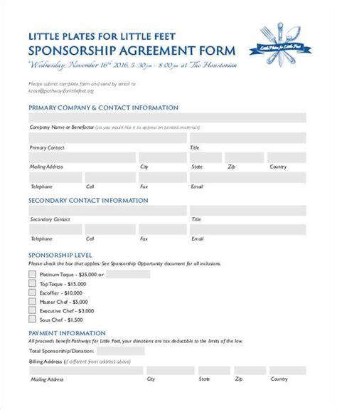 7 sponsorship agreement form sles free sle
