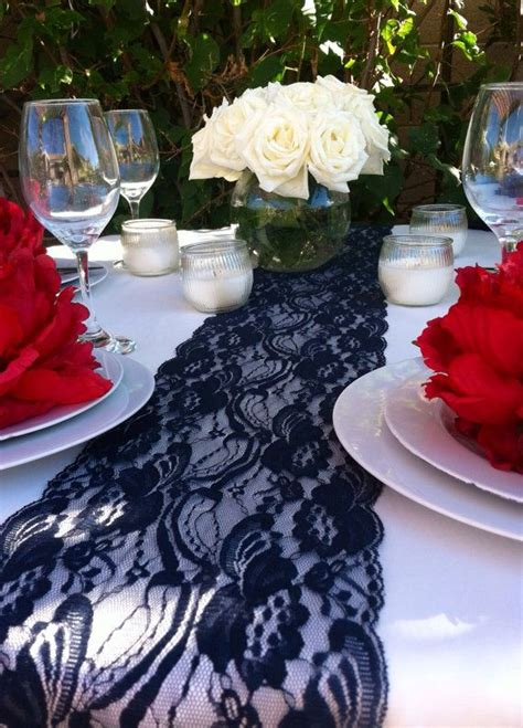 navy blue table runners wedding 6ft lace table runner navy blue 6 5in wide x 78in
