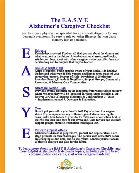 dementia or alzheimer s a s guide to home care from the early signs and onset of dementia through the various alzheimer stages books the e a s y e caregiver checklist a caregivers guide to