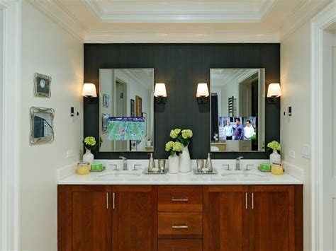 bathroom mirror tv screen contemporary bathroom with mirror tvs hgtv