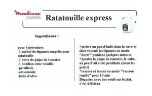 ratatouille express recettes cookeo