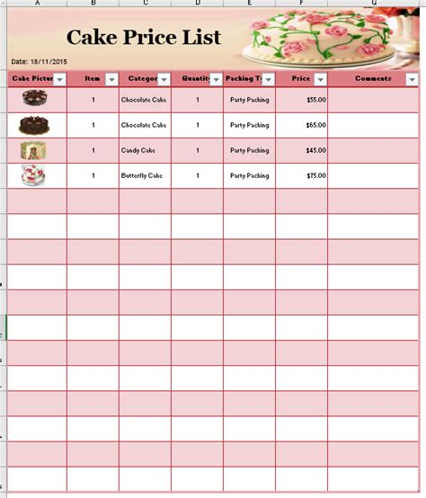 cake price list template printable templates