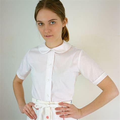 Whity Blouse vintage white pan collar blouse